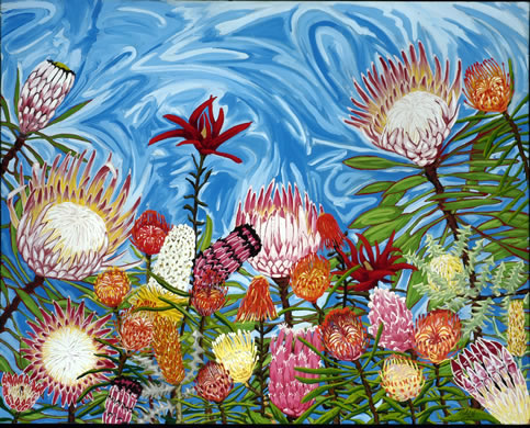 Proteas on Blue: Original
